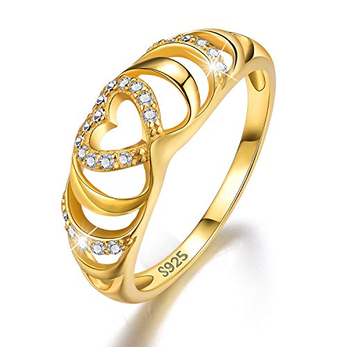 Esberry 18K Gold Plating 925 Sterling Silver CZ Endless Love Heart Stacking Rings Eternity Cubic Zirconia Ring Engagement Wedding Bands for Women (Yellow Gold, 7)