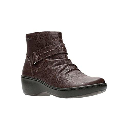 CLARKS Women's Delana Fairlee Ankle Bootie, Dark Brown Leather, 7.5 M US