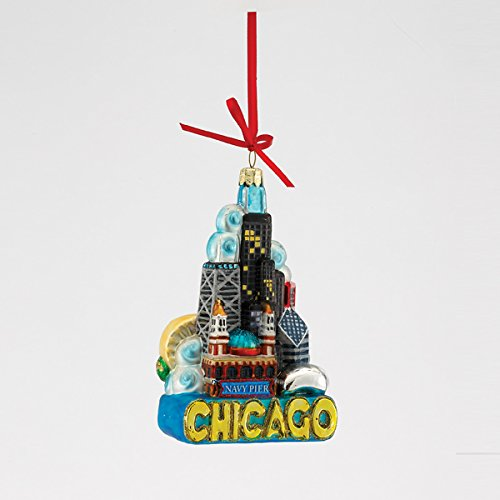 Kurt Adler Chicago Glass Ornament, 5-Inch