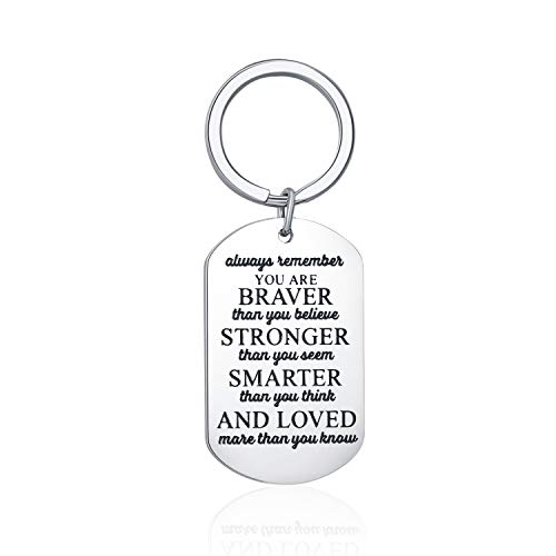 Inspirational Birthday Gift Keychain Always Remember You are Braver Than You Believe for Him Her, Engraved Side Personalized Key Tags in Bulk for Friend Women Men Boys Girls Kids by Vallgox