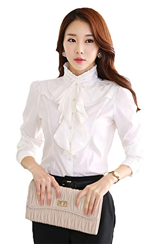 (ezShe Women's Stand Up Collar Lotus Ruffle Satin Shirt Blouse White2 S)