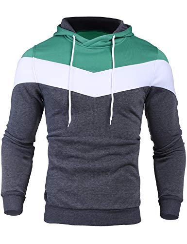 Zcfire Long Sleeve Light Weight Men Novelty Fashion Hoodies Color Block Pullover Sweatshirt with Individual Pocket(Green,Large