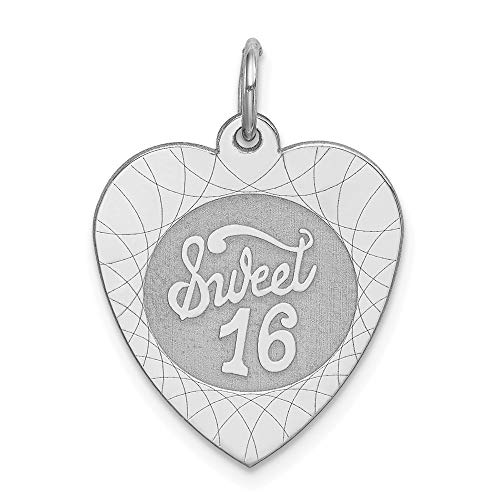 925 Sterling Silver Heart Sweet 16 Pendant Sixteenth Birthday Charm Love