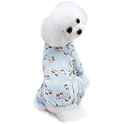 Scheppend Cozy Pet Pajamas for Small Dogs Thick Onesie Jumpsuits Soft Puppy Coat Cat Clothes, Blue Zebra XL