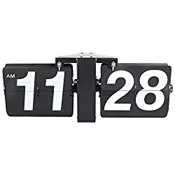 MIDCLOCK Large Wall Flip Clock, Retro Style Flip Desk Clock, Auto Flip Clock for Home Decor, Larger Number Digital Clock, Stainless Steel, Battery Powered, Black