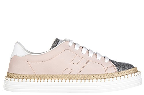 Hogan Rebel scarpe sneakers bimba bambina pelle nuove r260 allacciato rosa