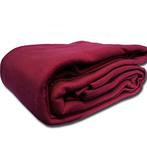 JEMIDI XXL Fleecedecke Fleece Wohndecke Sofadecke Bettüberwurf Sofa Decke erhältlich in 3 Größen bis XXL Fleece Bordeaux 240cm x 220cm