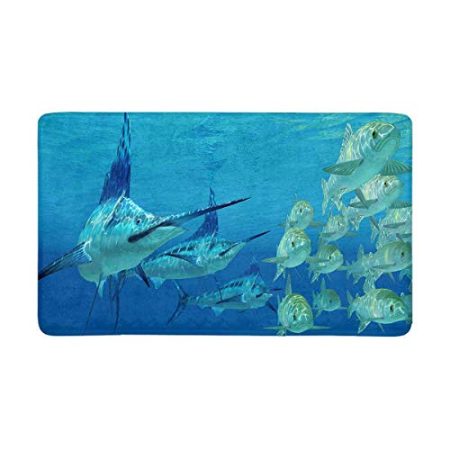 InterestPrint Funny Marlin Attack Ayu Fish in Ocean Doormat Anti-Slip Entrance Mat Floor Rug Indoor/Outdoor Door Mats Home Decor, Rubber Backing Large 30