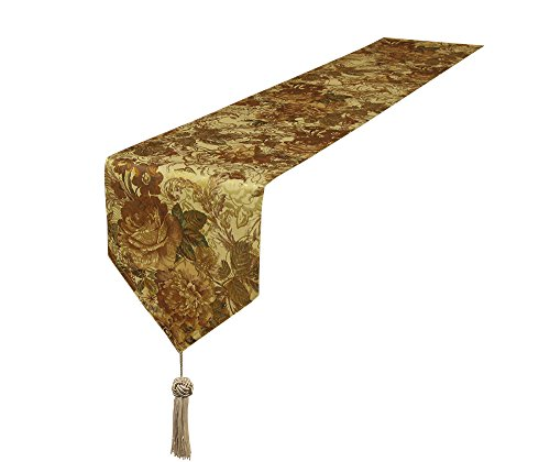 Lovein Table Runner 13x79 inch Gold Peony Pattern,Heavy Weight Rectangle Polyester Fabric Decorative Christmas Table Runners
