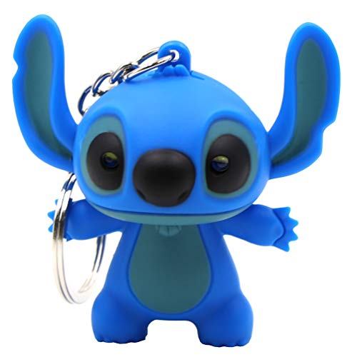 (Ireav Stitch Cartoon Modeling Keychain,LED Flashlight Key Chain Glowing Key Ring Bag Decor Hanging Buckle (Blue))