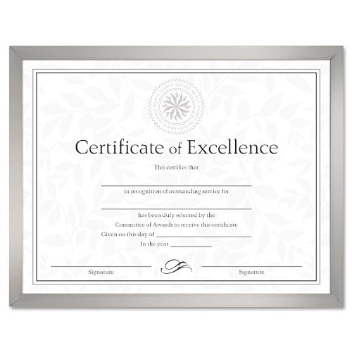DAX N17002N Value U-Channel Document Frame with Certificates, 8-1/2 x 11 Inches, - Certificate Silver