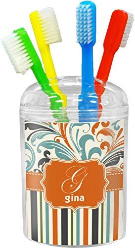 YouCustomizeIt Orange Blue Swirls & Stripes Toothbrush Holder (Personalized)