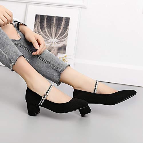 De Color Baja Albaricoque Hwf Tacón Boca Mujer 36 Moda Negro Medio Para Zapatos Tamaño color qp0vq
