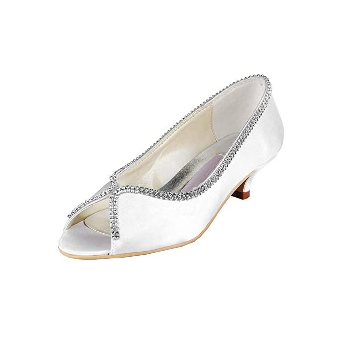 Zhrui Womens Mz536 Kitten Heel Satin Wedding Prom Party Sandali colore White-5cm Heel Dimensione 5 Uk