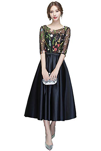 (Jicjichos Women's Tea Length Homecoming Dress 3/4 Sleeves Floral Print Satin Prom Gowns Black Size 18)
