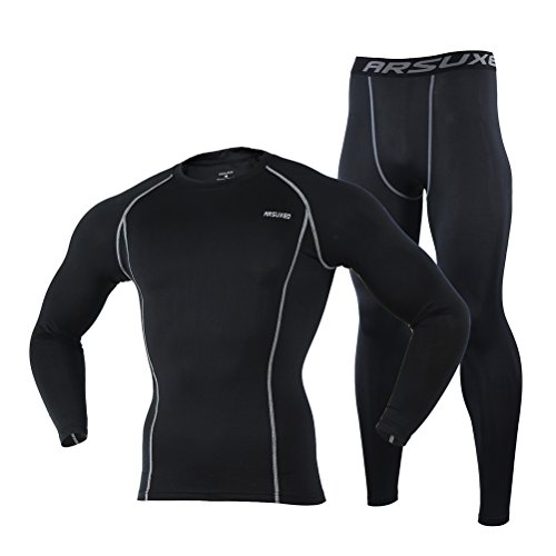 Men's Black Tight Elastic Dry Compression Base Layer Long Sleeve Shirt and Pant Set