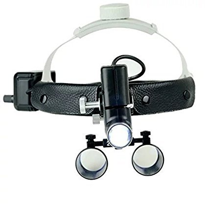 Zgood Surgical Medical 2.5X420mm Adjustable Headband Loupe with LED Headlight DY-105 Black