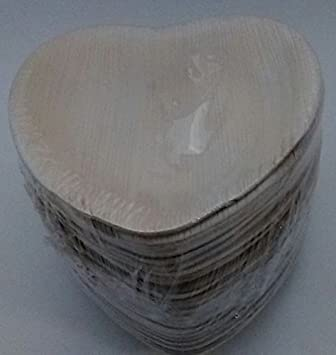 """Natural Palm Leaf 6 """"de ancho corazón platos desechables vajilla de fiesta (25"""