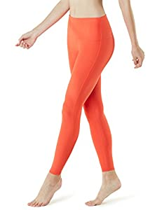 Tesla TM-FYP42-ORG_X-Large Yoga Pants High-Waist Tummy Control w Hidden Pocket FYP42