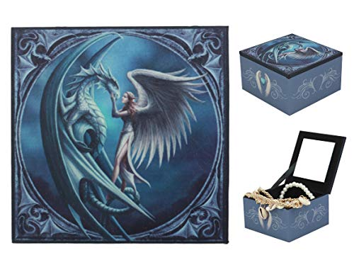 Ebros Silverback Giant Frostbite Dragon With White Oracle Angel Small Jewelry Box With Mirror By Anne Stokes For Women Girls Trinket Secret Storage Compartment ()