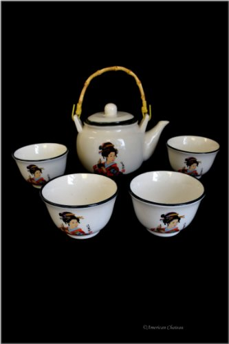 5 pc Japanese Porcelain Geisha In Kimono Large 24oz Teapot 4 Cups Set Gift Boxed