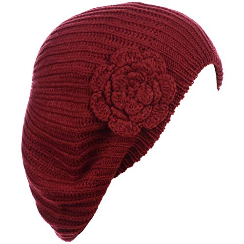 BYOS Ladies Winter Solid Chic Slouchy Ribbed Crochet Knit Beret Beanie Hat W/Flower Adornment ()