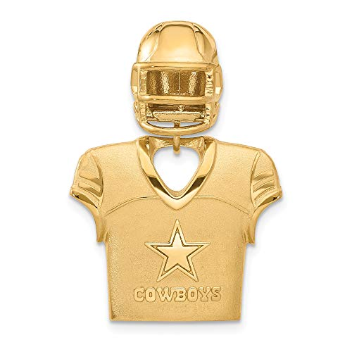 Kira Riley Gold Plated Dallas Cowboys Jersey & Helmet Pendant for Chains and Necklaces (Genuine Mlb Necklace)