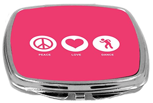 Rikki Knight Peace Love Dance Design Compact Mirror, Tropical Pink, 2 Ounce by Rikki Knight (Image #1)