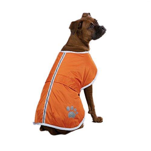 orange XXS (Back 8\ orange XXS (Back 8\ Fashion shop Dog Blanket Coat Reversible Winter Jacket with Waterproof Shell,Fleece Lining and Reflective Strip and Paw Print 3 color for Choice. (orange, XXS (Back 8 ))