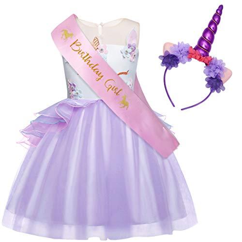 AmzBarley Unicorn Party Dress for Girls Princess Fancy