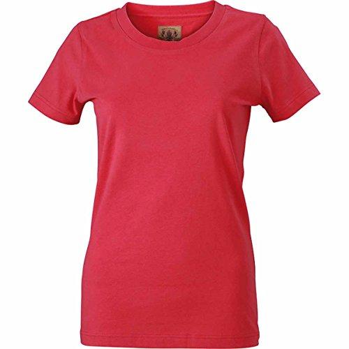 JAMES & NICHOLSON - Camiseta - Básico - Manga corta - para mujer Rosa