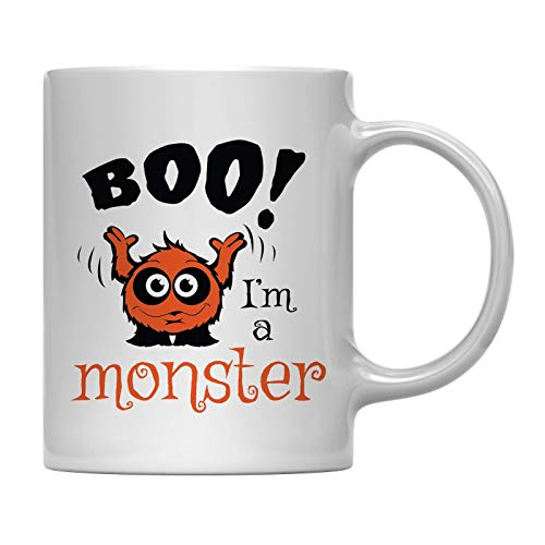 Andaz Press 11oz. Coffee Mug Gift, Boo I'm a Monster, Halloween October Present Ideas with Gift Box -