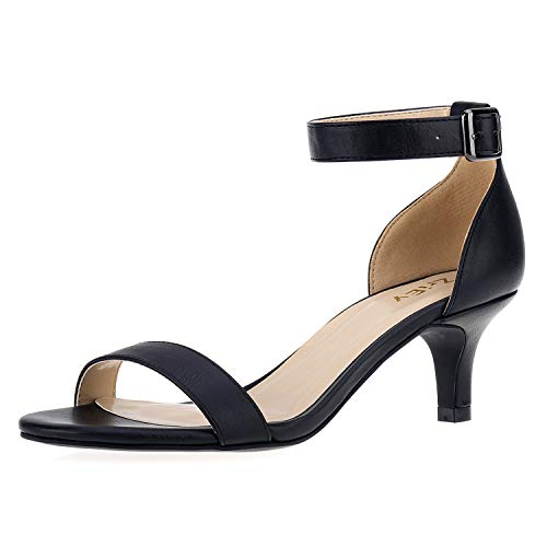 ZriEy Women Sexy Open Toe Ankle Straps Low Heel Sandals Black Size 5