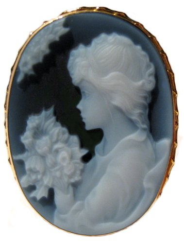 Cameo Brooch Pendant Italian 18k Yellow Gold Frame Lady with Flowers Agate Stone