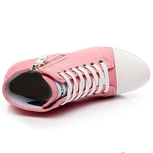 Klassisch Damen Mädchen Canvas Sportlich High Top Keilabsatz Schnürer Laufschuhe Größe 35 - 43 Pink