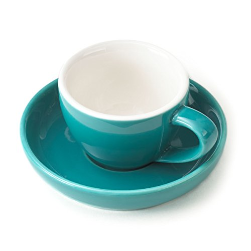 Espresso Cup and Saucer, (1 PC Set) 3-Ounce Demitasse for Coffee, Vibrant Color Choices, Durable Porcelain (Turquoise Blue)