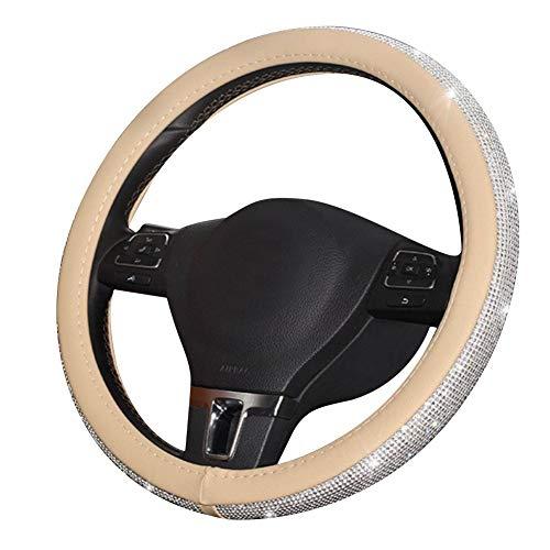 Steering Wheel Cover Leather Bling Rhinestones Crystals Car Handcraft Steering Wheel Covers Protector ()