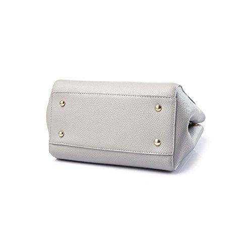 Emotionlin Frauen Modische Designer Boutique-Leder Große Knopf Schulter Padlock-Tasche (Sky Blue) Weißerot