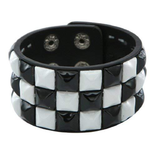(Retro Black and White 3 Row Pyramid Studded Wristband)