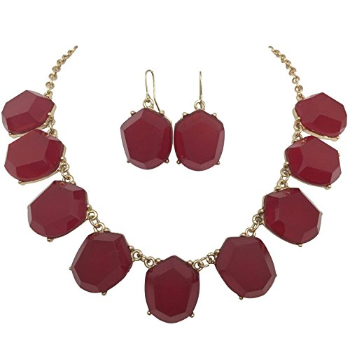 [Abstract Dot Bubble Gold Tone Boutique Statement Necklace Earrings Set - Assorted colors (Cranberry] (Little Girl Gypsy Costumes)