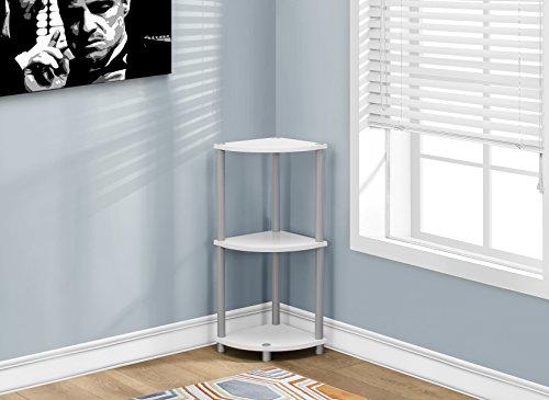 Monarch Accent Table, Black/White/Silver (Triangular Corner Table)