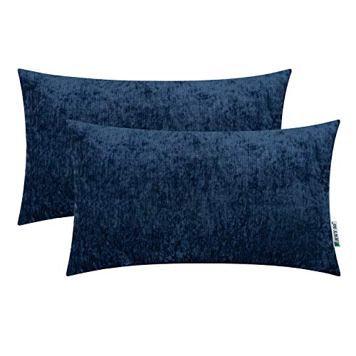 (HWY 50 Cashmere Soft Decorative Rectangle Throw Pillows Covers Set Cushion Cases for Couch Bed Living Room 12x20 Inches Blue Comfortable Pack of 2)