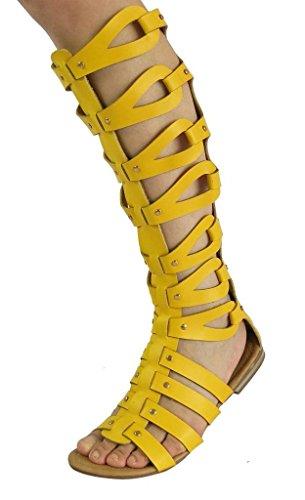 CAMSSOO Women's Fashion Knee High Gladiator Flat Outdoor Sandals Back Zip Shoes Yellow PU Size US9 EU41 Gladiator High Heel
