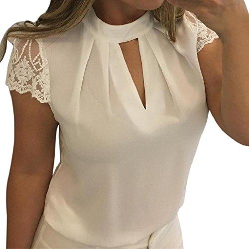 Lace Splice V-Neck Short Sleeve Chiffon Plain Blouse T-Shirt (XXXXL, White) ()