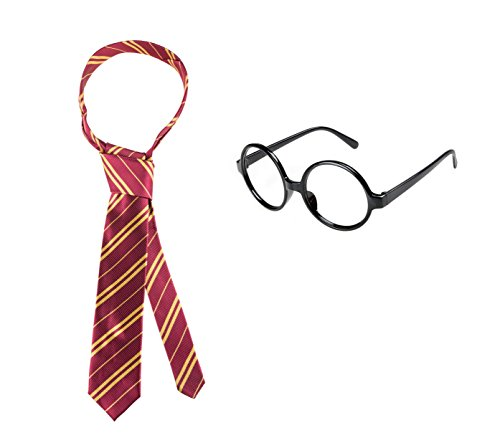 Ustar Striped Tie with Novelty Glasses Frame for Cosplay Costumes Accessories for Halloween Christmas and Thanksgiving Gift( Dark red with golden)
