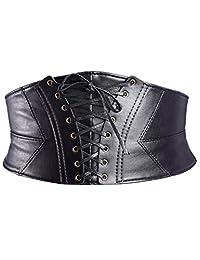 eBoot Elastic Wide Waist Belt Tied Corset Cinch Belt with Press Button, Black