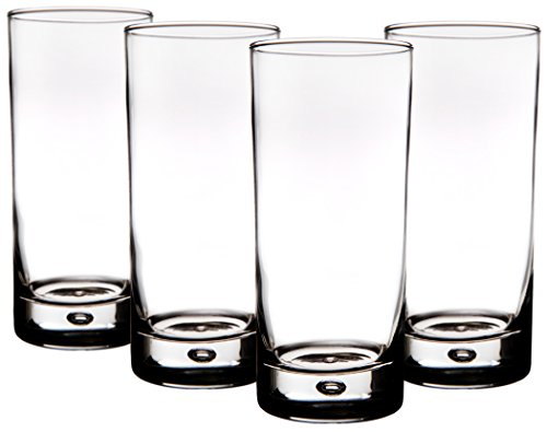 (Home Essentials Red Series Bubble 17oz Highball Glass, Set of 4 )