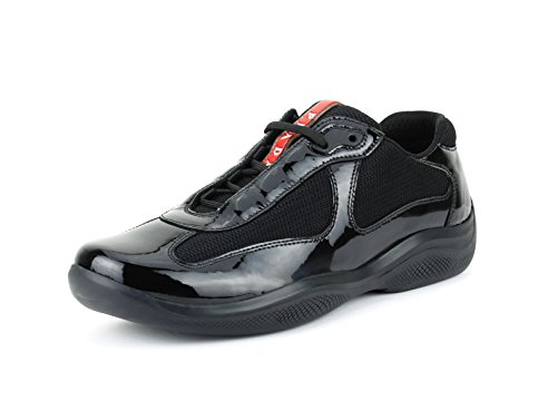 Prada Women's America's Cup Patent Leather Trainer Sneaker, Black (Nero) (8 US/38 - Cup Prada America