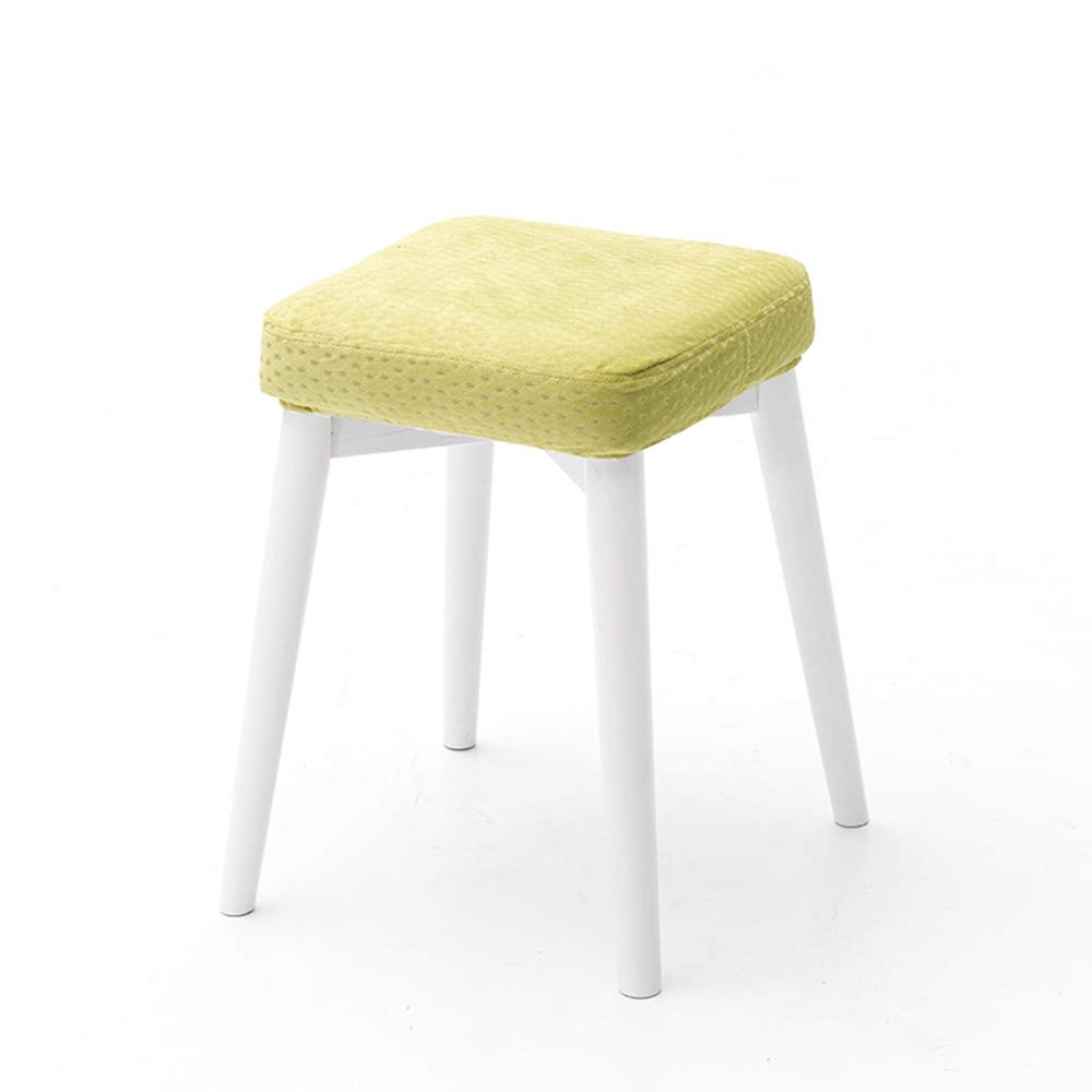 Green1 Stackable Solid Wood Stools, Creative Dressing Stools, Dining Table Stools, High Resilience Mats, Space Saving, Beautiful and Lightweight