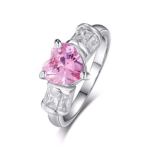 Mink Monk Valentines Gift Silver Color Pink Cubic Zircon Ring Promise Love Heart Design Lover Fine Jewelry Wedding Rings Size 6 7 8 9